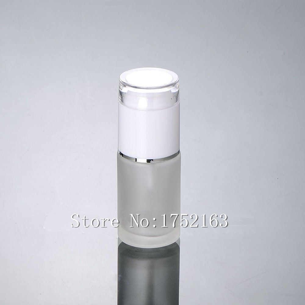 30ml glass bottles with white press pump and white cap,frosted glass lotion bottles , Cosmetics containers,Cosmetic Packaging(China (Mainland))