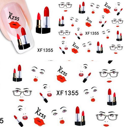 1 sheets Sexy Lips Kiss Design Nail Art Water Transfer Stickers Decals DIY Beauty Decal Nail Decoration Tools #XF1355(China (Mainland))