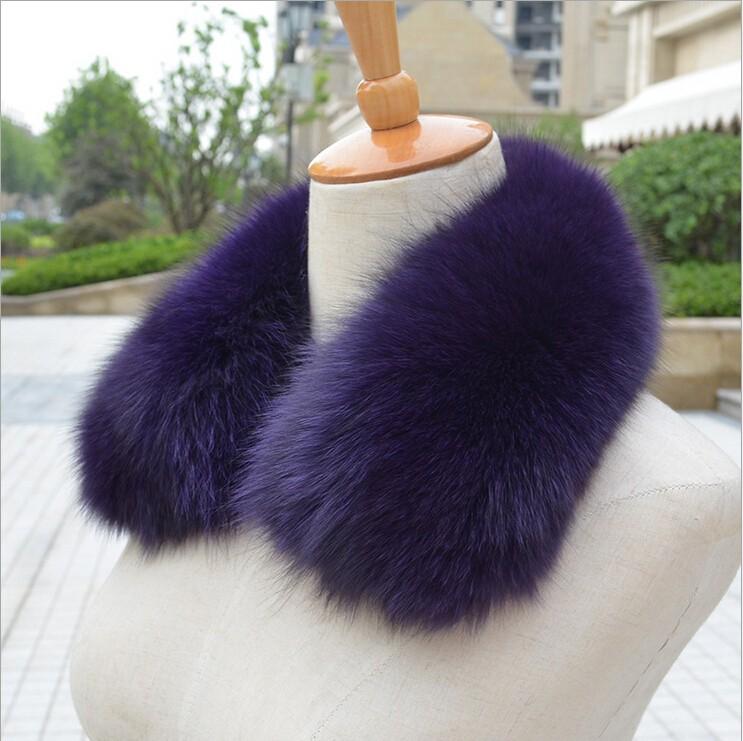 Real fox fur collar scarf winter neck warmer 100% natural fox fur womens shawl wraps shrug for woolen coat
