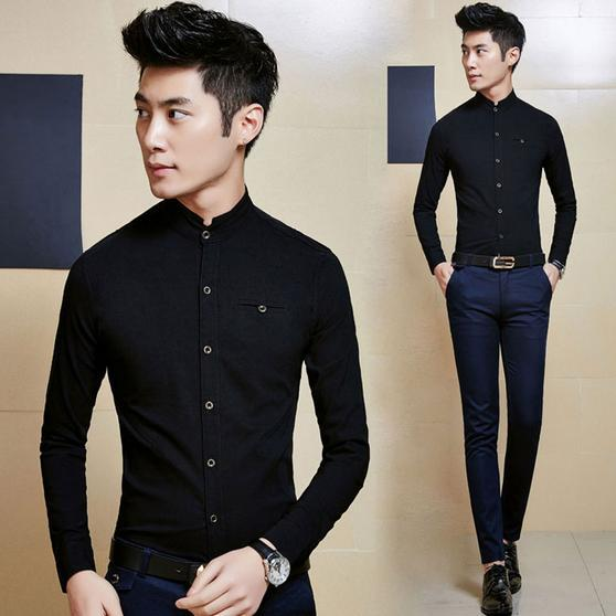 New fall classic collar Korean version of casual men's clothes, men's long-sleeved shirt Slim England shirt tide male(China (Mainland))