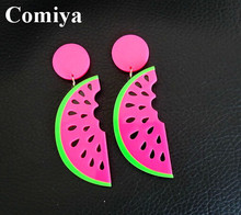 Newest design earring for women summer style watermelon earrings fashion jewelry accessoris fruit stylish drops colorful bright (China (Mainland))