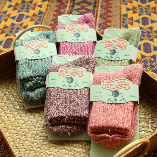 Японский милый твердого шерстяные носки женская Kawaii розовый фиолетовый теплые носки зима простой тепловой толщиной носки