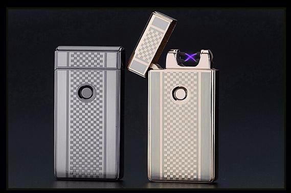 ถูก 5ชิ้น/ล็อตสร้างสรรค์บุคลิกภาพบุหรี่ชาร์จUsbเบาwindproofบางเฉียบอิเล็กทรอนิกส์สำหรับสูบบุหรี่arcชีพจรarc