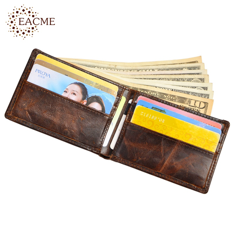Retro Crazy Horse Leather Men Short Slim Wallets Cash Purse Vintage Folded Thin Wallet Sim Slot Men Brown Male Carteras 2016 HOT(China (Mainland))