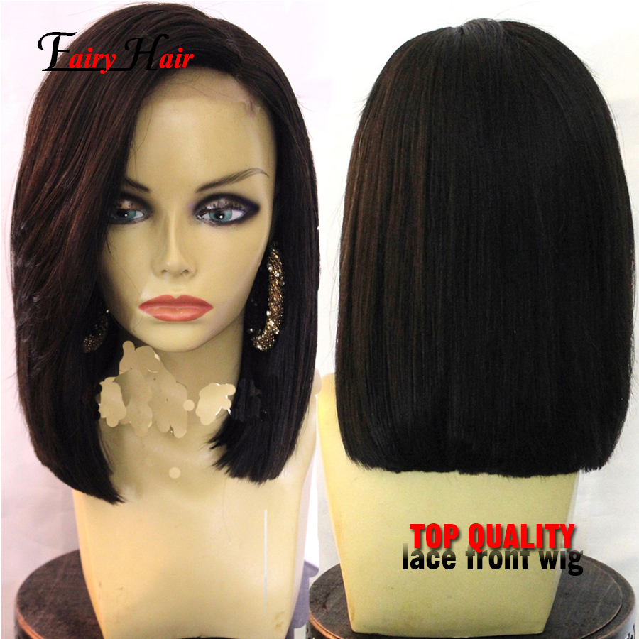 Short straight synthetic lace front  Bob Wig Straight Lace Front Bob Wigs For Black Women Glueless Lace front Bob Wig With Bang<br><br>Aliexpress