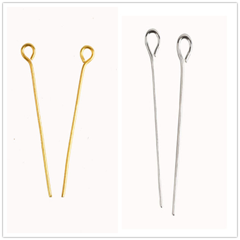 Fashion 200 Pcs/lot Gold & Silver Plated Eye Pin Head Pins Findings 20 22 24 26 28 30 32 mm Free Shipping Wholesale(China (Mainland))
