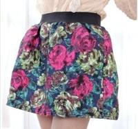 новые моды осень & корейский ретро высокой талией зимние шерстяные большой цветок печати юбка пачка официальных граффити