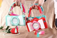 2015 Newest Fashion Phone Bags Camera Design Case Cover For Iphone 6 4.7 With Bead Chain(China (Mainland))