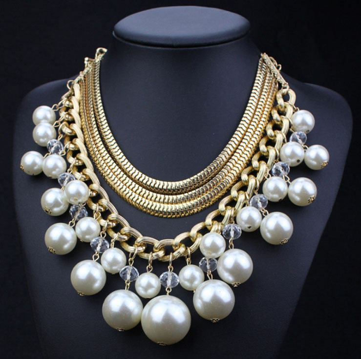 big beads pearls necklaces statement gold chain pearl bridal jewelry fashion multilayer snake chains bridal party jewelry(China (Mainland))