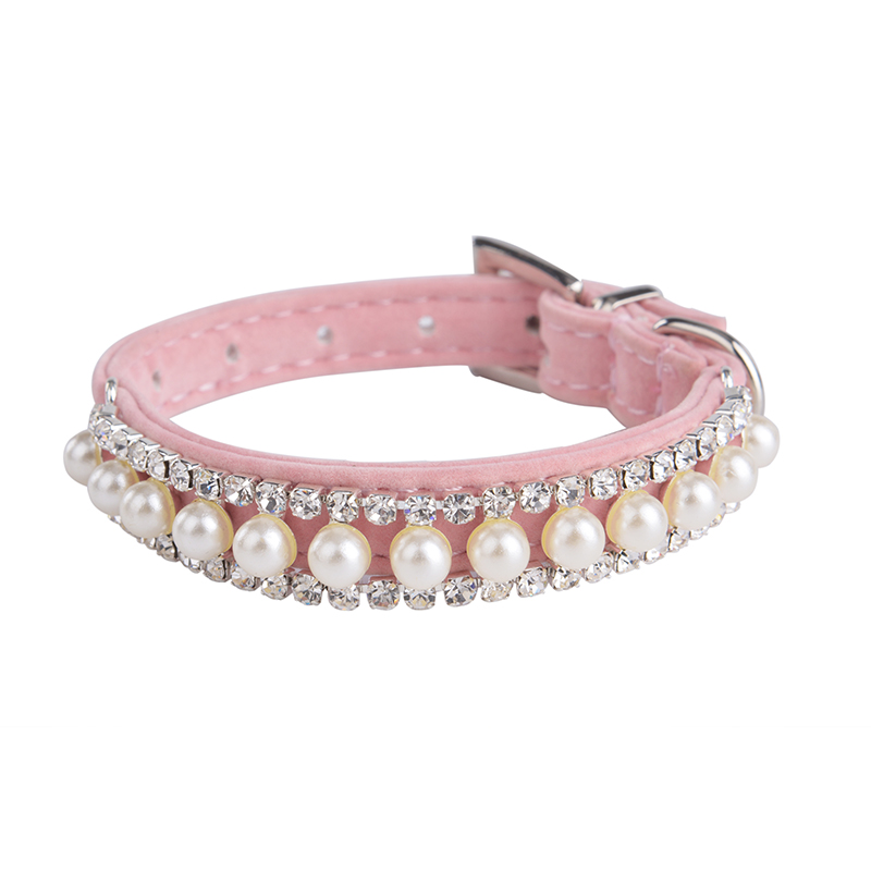 2016 Fashion Bling Dog cat velve Collar Pearl Necklace Rhinestone Crystal Pet Cat Dog Collars For Small Dogs Size S,M(China (Mainland))