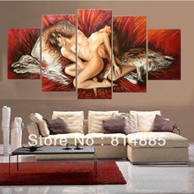 Red Color Nude Painting ,Thick  Textured  Handpainted Modern Canvas Oil Painting Wall Art  ,Top Home Decoration JYJHS007(China (Mainland))
