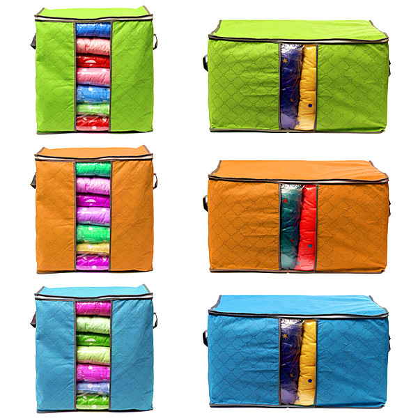 Hot Foldable Bamboo Charcoal Cloth Storage Bag Clothes Pillow Organizer Box Case 2 Sizes 3 Colors To Choose(China (Mainland))