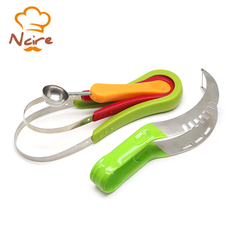 NICER Creative Watermelon Slicer Corer & Server Tongs Fruit Cutter Right With Melon Baller Scoop Set and Fruit Carving Knife(China (Mainland))