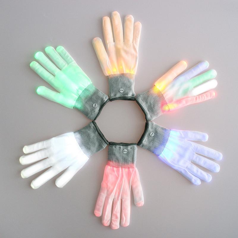 Colorful LED Gloves Rave Light Finger Lighting Flashing Gloves Unisex skeleton Gloves P50(China (Mainland))