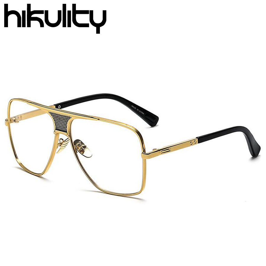 Oversized Gold Frame Sunglasses : Oversized Square Gold Clear Glasses Frame Transparent ...