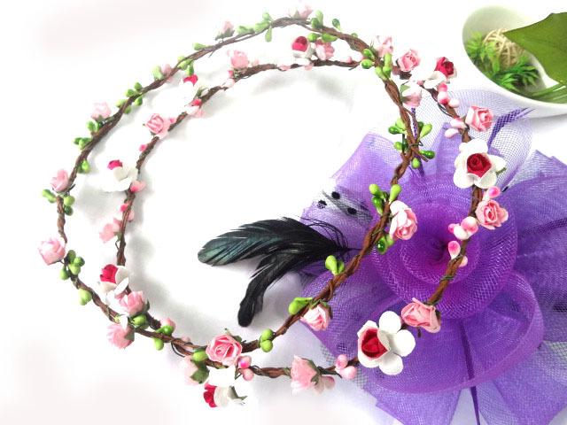 12pcs/lot Handmade wedding Bridal Hair Accessory, Party Woman Garland Fashion Girls headband. Head Flower Berry Cane Wreath(China (Mainland))