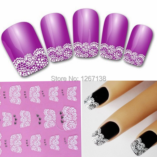 1Set/2pcs White Lace 3D Adhesive Nail Art Sticker Decals Manicure For French Nail Tips Decoration For False UV Gel Polish aOi58C