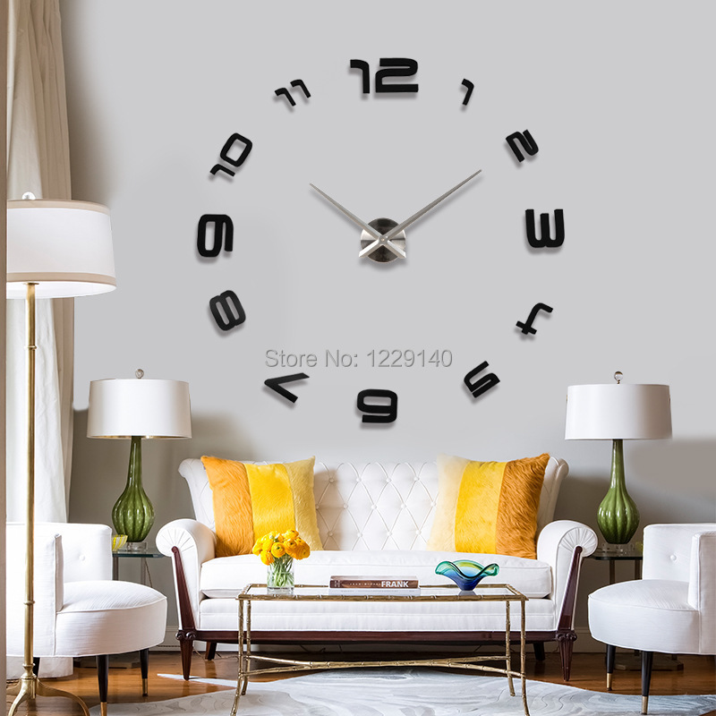 2014 New Hot Sale Large 3d Diy Wall Clock Stickers Fashion Design Home Decor Arts Luxury