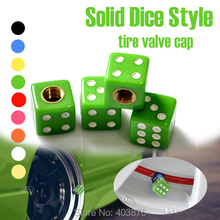 Car styling Christmas promotion Solid Green Dice style Car Valve Cap , tire valve cap , EMS fast shipping(China (Mainland))