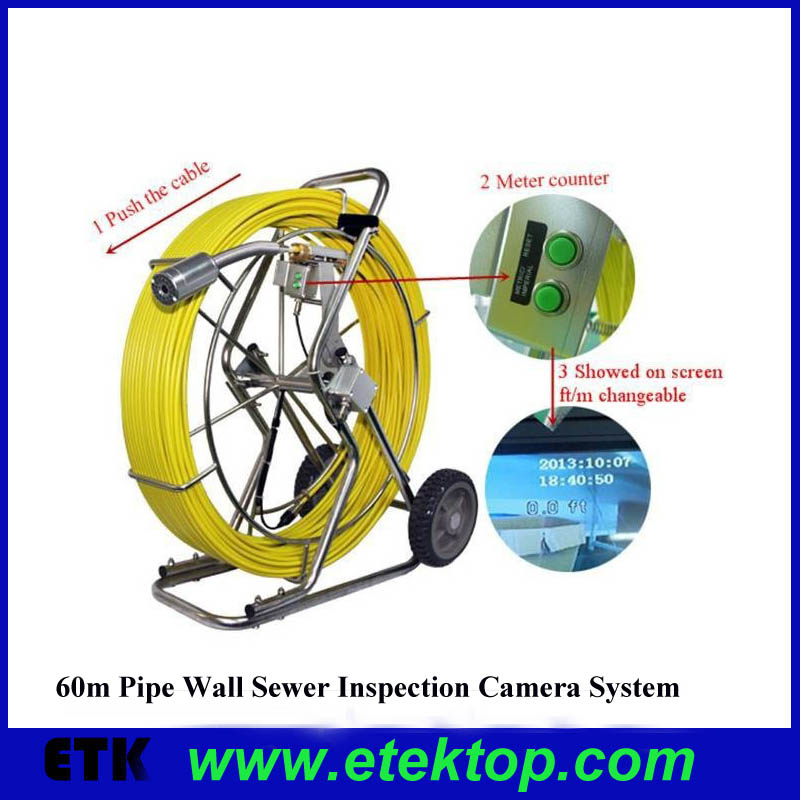 60m Pipe Wall Sewer Inspection Camera System with Cable accounter,endoscope camera system,waterproof Sewer detection camera(China (Mainland))