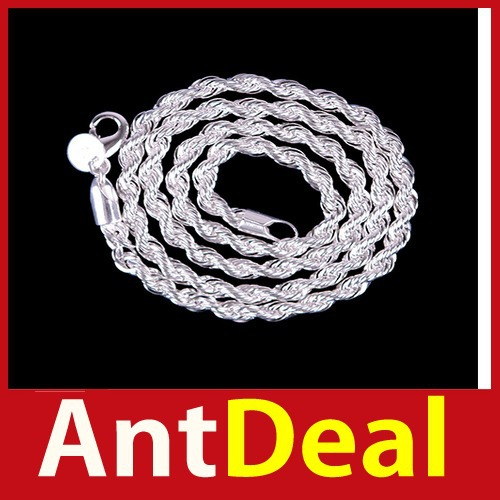 upgrade AntDeal 16 18 20 22 24 4MM Fashion Lovely Flash Silver Plated Wrest Rope Chain Necklace N067 24 hours dispatch classic(China (Mainland))