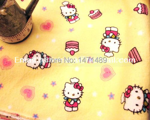 hk508B - 1 Yard Cotton Flannel Fabric - Cartoon Characters, Hello Kitty Loves Cupcake - Yellow (W105)(China (Mainland))