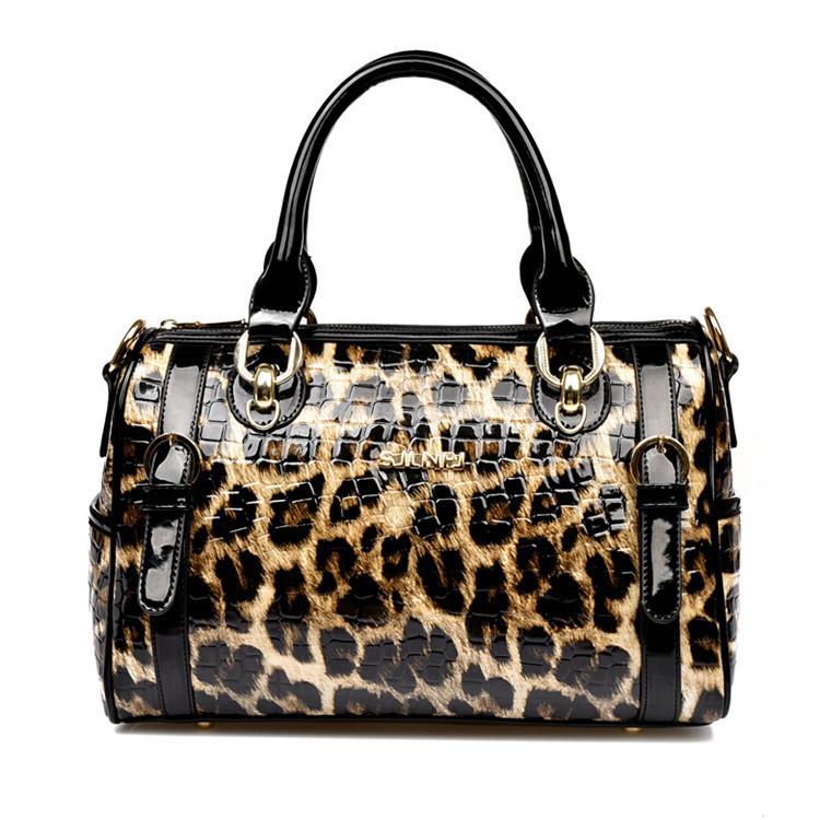 2016 New Fashion Goddess Fan Leopard Patent Leather Women Handbag Shoulder Bag Messenger Bags Freeshipping(China (Mainland))