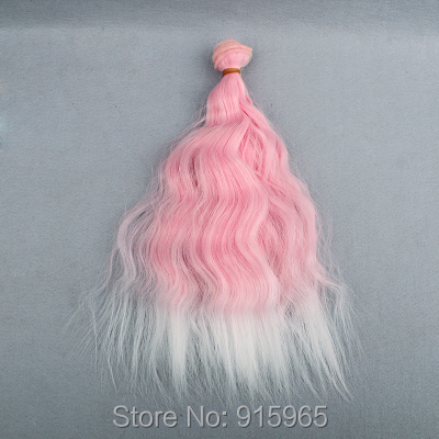 20 items/lot wholesales 25cm*100CM  curl rainbow coloration wavy thick dense doll wig for blythe hair for barbie doll
