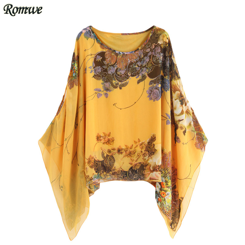 ROMWE Yellow Random Floral Print Loose Blouses 2016 Womens Casual Tops Round Neck Long Batwing Sleeve Chiffon Blouse(China (Mainland))