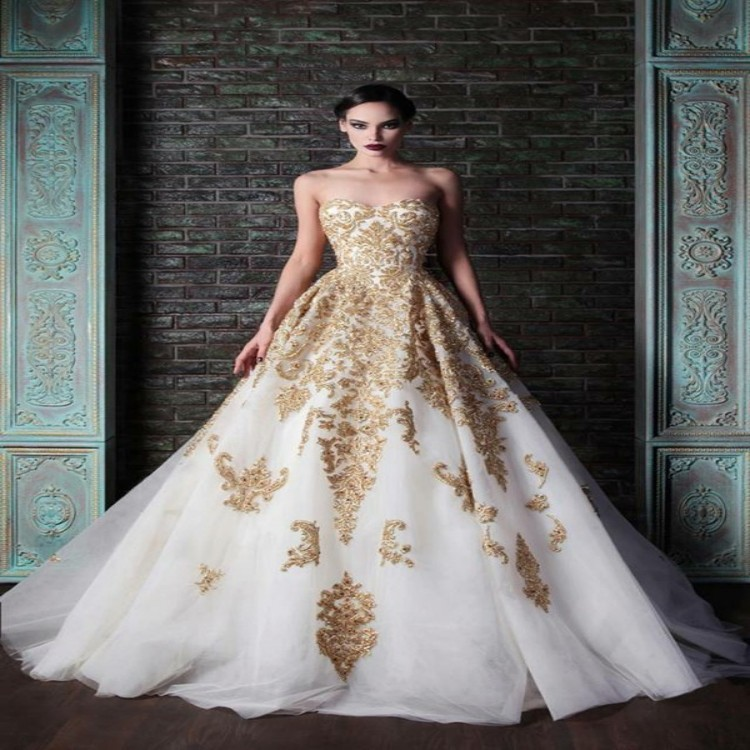 Real Photo Hot Sale White And Gold Wedding Dresses 2015 Luxury Sweetheart Backless Gold