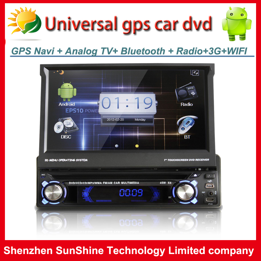 Android car dvd player GPS Navigation Radio BT TV 3G WIFI USB SD AUX SWC Car PC 1 din 7 inch touch screen car audio player(China (Mainland))