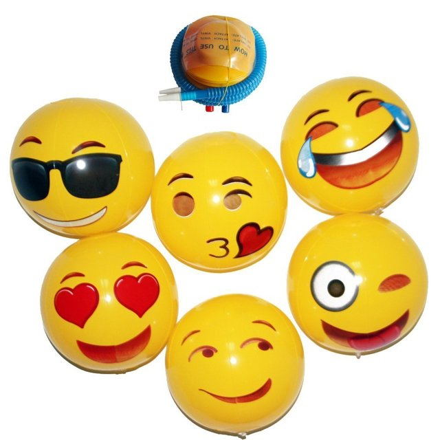 Emoji Universe: 18\u0026quot; Emoji Inflatable Beach Balls, 6 Pack-in Toy ...