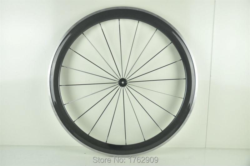 Здесь можно купить  1pcs New 700C 50mm clincher rim road bike 3K carbon fibre bicycle wheelset with alloy brake surface aero spoke skewers Free ship  Спорт и развлечения