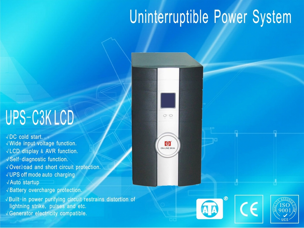 Long backup time online UPS 3KVA LCD display power solution system(China (Mainland))