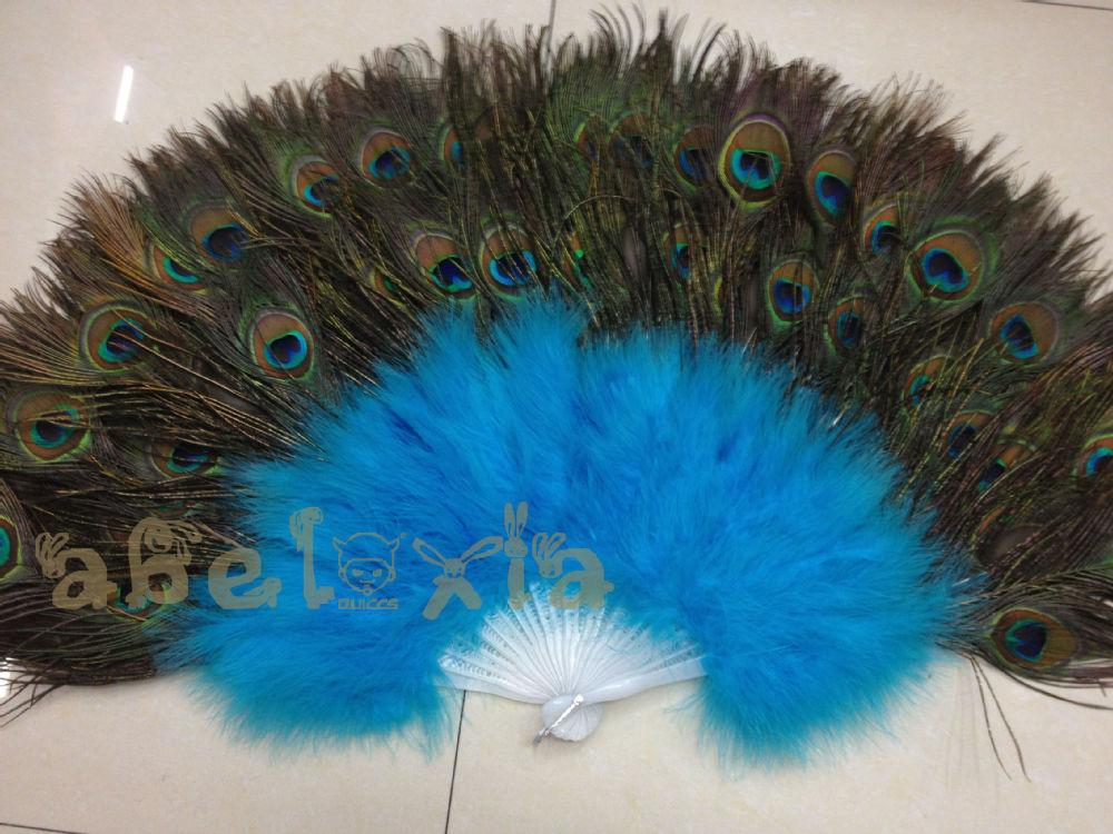 Azure Blue feather fan (Turkey Feather) peacock ( beautiful eye ), - abel'store store