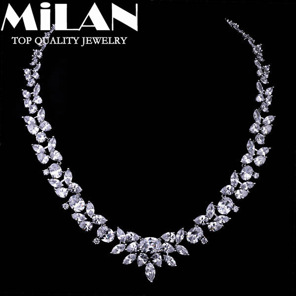Fashion Jewelry Luxury Prong Setting Zirconia The Bride Wedding Suit Necklace For Women Party Accessories(Milan MJ0539)(China (Mainland))