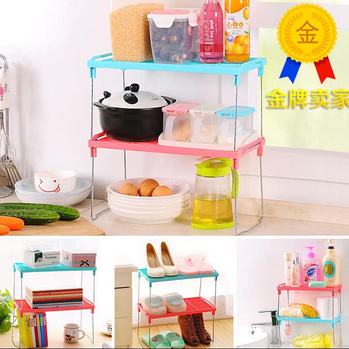 2PCS/SET 43*20*21cm Kitchen organizer storage in bathroom shelf storage rack folding Multifunction shelf microwave oven shelf(China (Mainland))