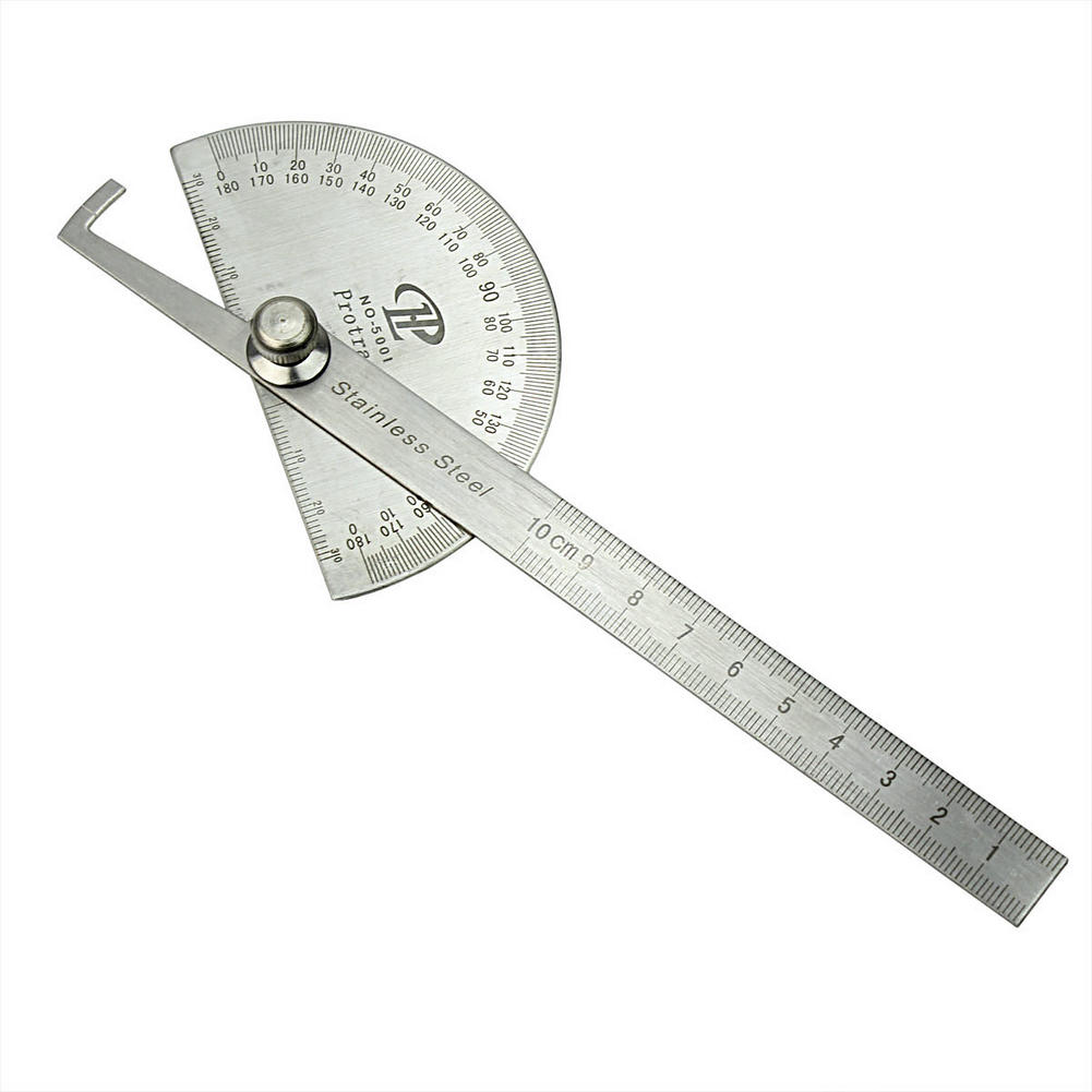 Silver Gray Carbon Steel Protractor Ruler 180 Degree Rotating Protractor Metric Ruler Round Head Angle Drafting Measuring Tool(China (Mainland))