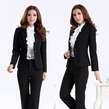 New 2015 Spring and Autumn Blazer Women Suits with Pant and Top Sets Office Ladies Business Suit for Work Female Pantsuit Black