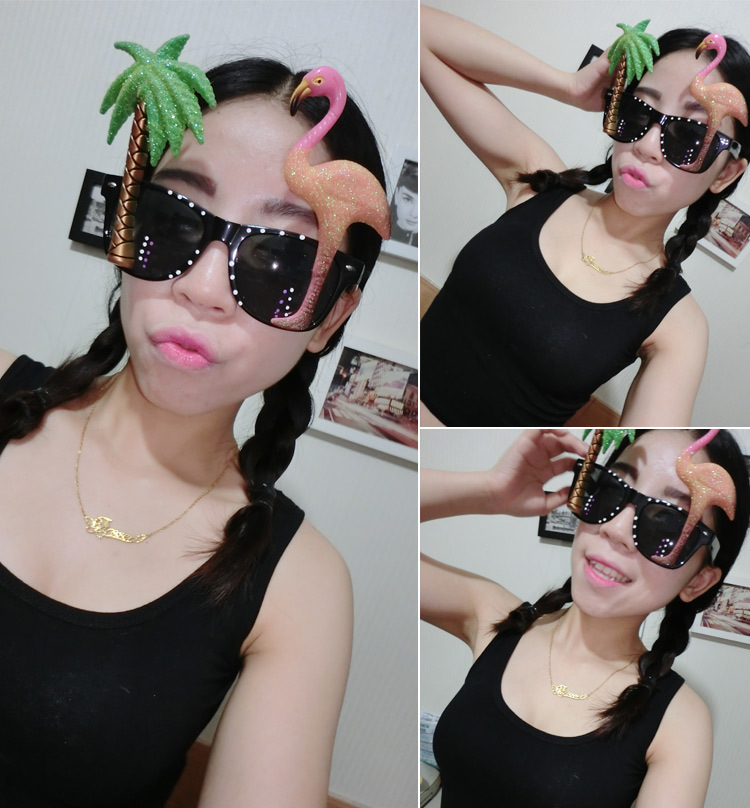 Funny coconut tree flamingo party glasses gift Favors Holiday Event&Party Supplies decorative props sunglasses(China (Mainland))