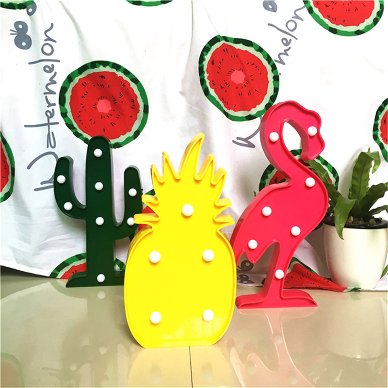 Lumiparty Decorative Flamingo Lamp Pineapple Table Lamp Cactus NightLight Marquee LED Night light Home Christmas Party Decor(China (Mainland))