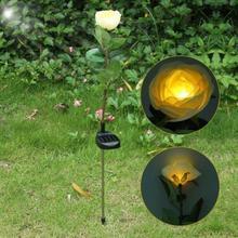 Yellow Solar Power LED Rose Flower Light Lawn Lamp Outdoor Garden Landscape Waterproof(China (Mainland))