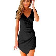 Buy Sexy Women Irregular Hem Bandage Bodycon Dress Party Short Sleeve V-Neck Ball Mini Dress White Black for $5.31 in AliExpress store