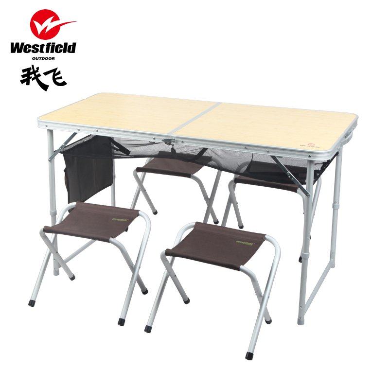 Outdoor portable folding tables and chairs Set Picnic Tables aluminum adverti