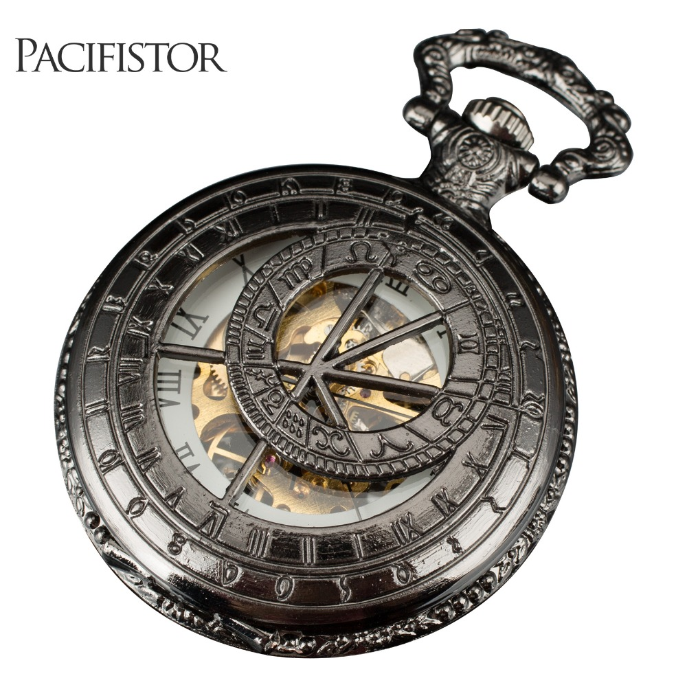 PACIFISTOR 2016 New Fashion Analog Men Watch Mechanical Pocket Watch With Necklace Chain Steampunk Hand Wind Pocket Watch(Hong Kong)