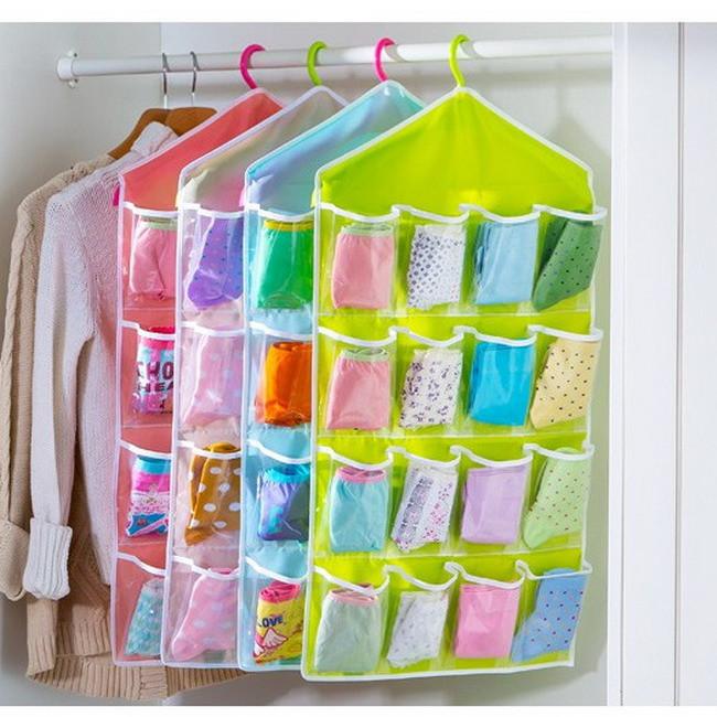 16 Pockets Over Door Cloth Shoe Organizer Hanging Hanger Closet Space Storage High Quality LA871962(China (Mainland))