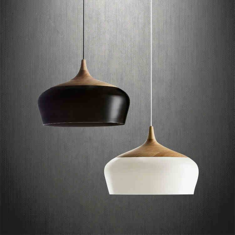 Modern pendant light Wood aluminum lamp black/ white restaurant bar coffee dining room LED hanging light fixture home decor(China (Mainland))