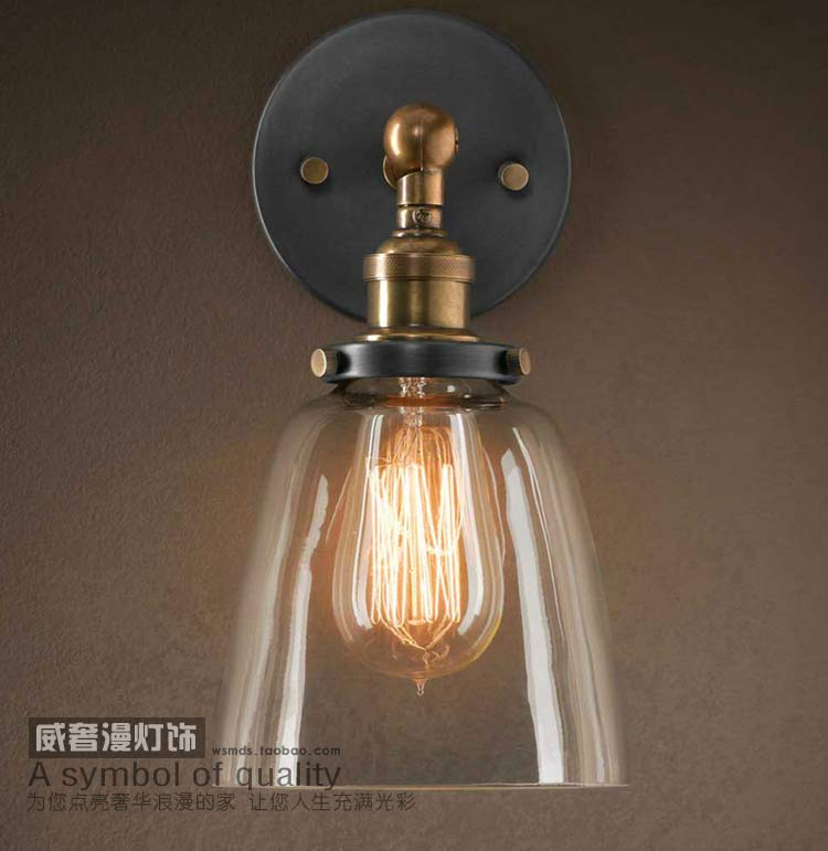Industrial dimmer Vintage american glass cover wall lamp ofhead mirror light nostalgic art light ...