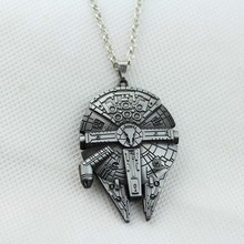 Free shipping hot sale 1 pc movie Star Wars Millennium Falcon metal pendant necklace jewelry for men