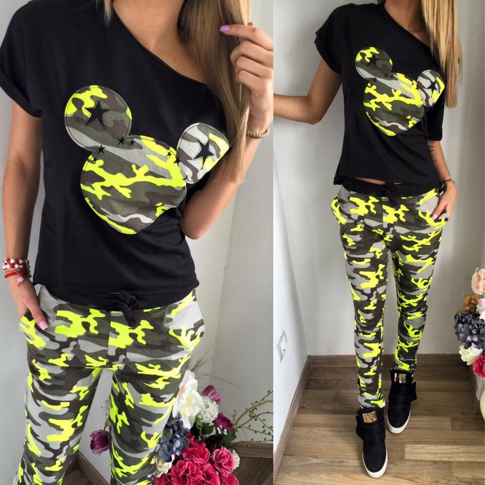 Summer Jogging Suit Tracksuit 2 piece Women O neck Shirt Short Sleeve Hoodie Cartoon Print Camouflage Pants Capris Joggers(China (Mainland))